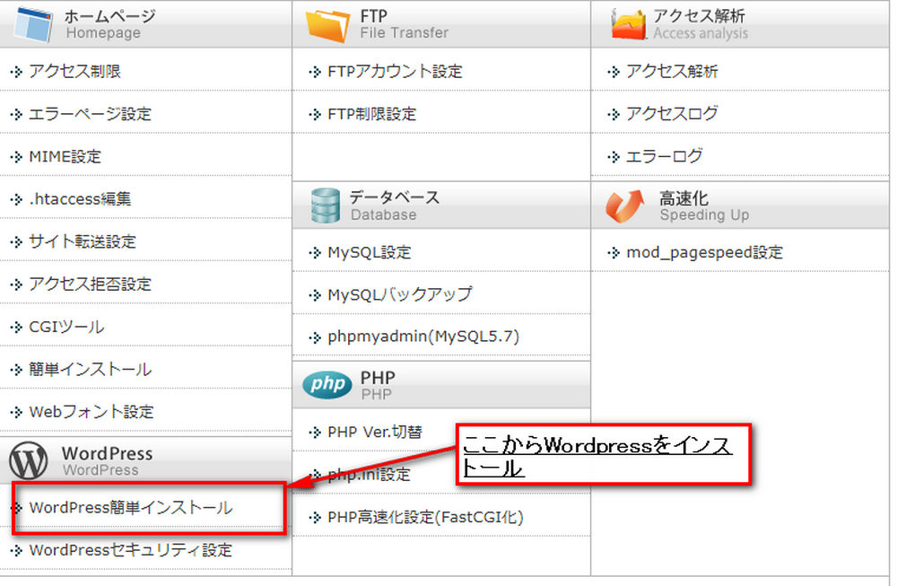 Wordpress 簡単インストール